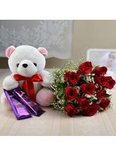 Meandmycake Large Teddy-10 Red Roses-2 DairyMilk Silk, normal delivery
