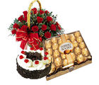 Meandmycake Black Forest Cake-24 Fererro Rocher-24 Red Rose Basket, midnight delivery