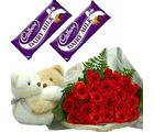 Meandmycake Pair Of Teddy-2 chocolates-25 Red Roses, normal delivery