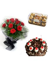 Meandmycake Black Forest Cake-10 Red Roses- 8 Fere...