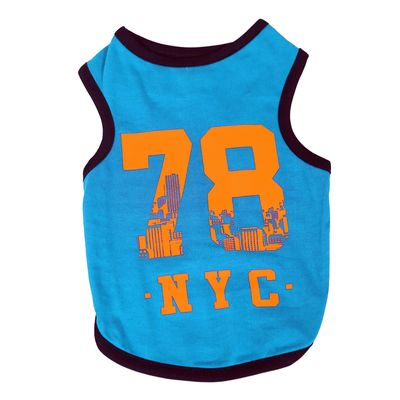 Canes Venatici Sporty Sando Sleeveless Tshirt for Dogs, blue 78 ny, 26 inch