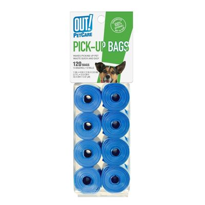 OUT Pet Care Blue Waste Pick up Bags, 120 bags
