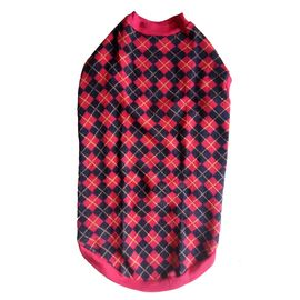 Rays Woollen Warm Sweater Tshirt for Large Dogs, 28 inch, red black checks