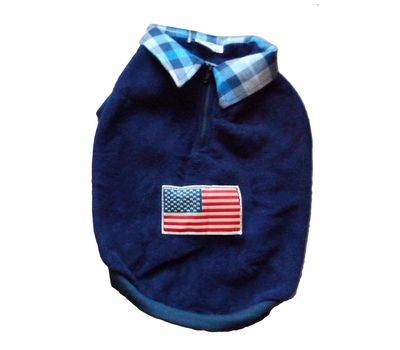Rays Premium Double Fleece Warm Collar Tshirt for Medium Dogs, 22 inch, navy blue usa flag