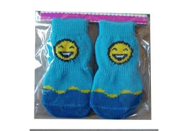 Bobo Anti Slip Socks for Small to Medium Breed Dogs, blue smiley, medium