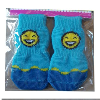 Bobo Anti Slip Socks for Small to Medium Breed Dogs, blue smiley, medium