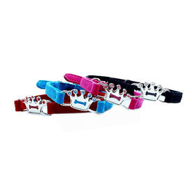 Puppy Love Crown Studded Crystal Rhinestone Velvet Collars for Cats, pink