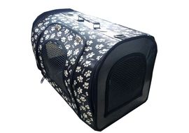 Designer Pet Carry Bag for Cats and Small Dogs, black, white paws