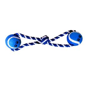 Canine Solid Ball Rope Play Tug, assorted