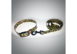 Puppy Love Printed TPU Collar and Leash Set for Large and Giant Breed Dogs, camouflaged
