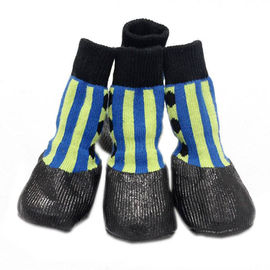 Puppy Love Anti-Slip Waterproof Sock Shoes for Small Breed Dogs, blue striped , small