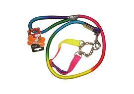 Jin Xin Rainbow Nylon Rope Dog Leash Collar Set, rainbow, 57 inch, med