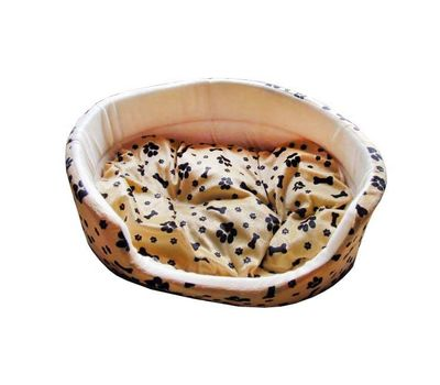 Canine Fleece Paw Print Oval Bed for Cats and Toy Breed Dogs, 14 inch