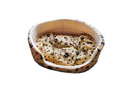 Canine Fleece Paw Print Oval Bed for Small to Medium Dogs and Cats, 21 inch