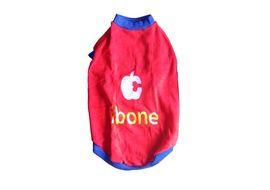 Rays Fleece Warm Embroidery Tshirt for Medium Dogs, red i-bone, 22 inch