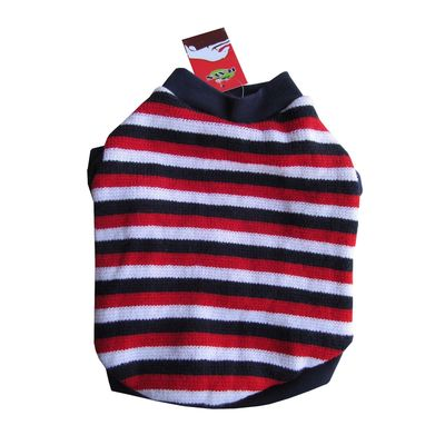 Rays Striped Red, White & Navy Woollen Sweater for Toy Breed Dogs, 12 inch