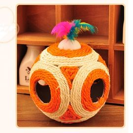 The Mighty Sisal Cat Scratching Ball with Musical Ball, orange, 6 inch