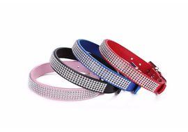 Holapet Designer Bling Rhinestone Soft PU Leather Collar, pink, large