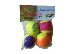 Canine Tennis Ball 4 x 1 Cat Toy, 2 inch, multi colour