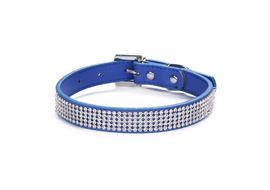 Holapet Designer Bling Rhinestone Soft PU Leather Collar, blue, large