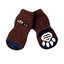 Puppy Love Anti Skid Socks for Medium to Large Breed Dogs, brown pugs, xl