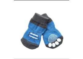 Puppy Love Multi Designs Anti Skid Socks for Small to Medium Breed Dogs, blue shoes, medium
