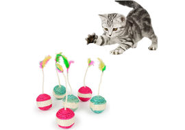 Transer Sisal Scratching Ball with Feather Cat Toy, assorted