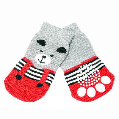 Puppy Love Multi Designs Anti Skid Socks for Small to Medium Breed Dogs, blue teddy, medium