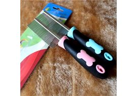 Pristine Paw Engraved Flea Comb for Dogs, pink, universal