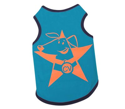Canes Venatici Sporty Sando Sleeveless Tshirt for Dogs, 16 inch, turquoise blue star cv