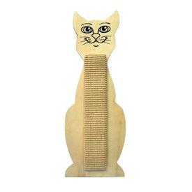 Canine Cat Kitten Shaped Wall Mounted Wooden Sisal Scratch Board, 24 inch