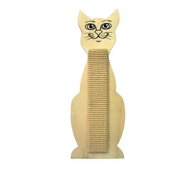Canine Cat Kitten Shaped Wall Mounted Wooden Sisal Scratch Board, 24 inch