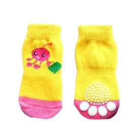 Puppy Love Anti Skid Socks for Small to Medium Breed Dogs, yellow streaks, medium