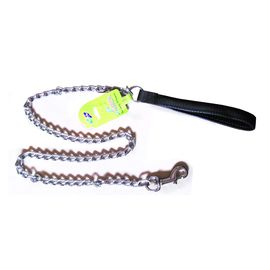 Canine Metal Chain Leash with Padded Nylon Handle, black, 0.75 inch