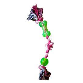 Three Knots Rope Tug with Bone Dog Toy, 12 inch, green