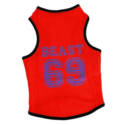 Canes Venatici Sporty Sando Sleeveless Tshirt for Dogs, 18 inch, red beast