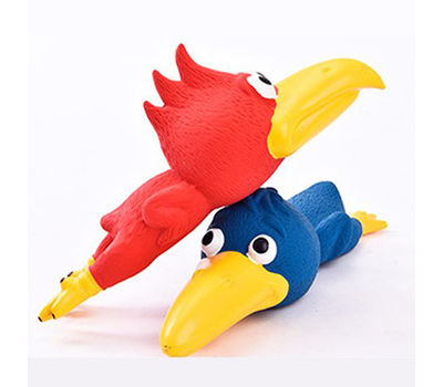 Canine Bird Shape Latex Squeaky Toy, red