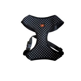 Puppy Love Spotted Cotton Vest Harness for Small to Medium Breed Dogs, black, extra large