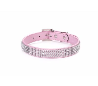Holapet Designer Bling Rhinestone Soft PU Leather Collar, pink, small