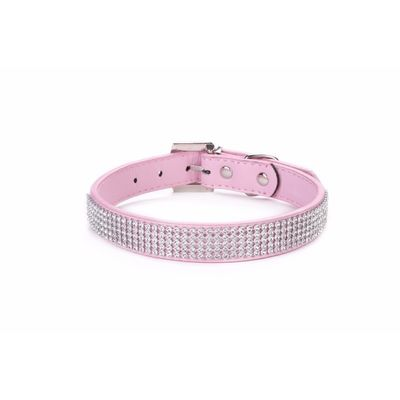 Holapet Designer Bling Rhinestone Soft PU Leather Collar, pink, small