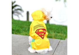 Puppy Love Jumpsuit Styled Superhero Raincoats for Small Breed Dogs, 2l, yellow