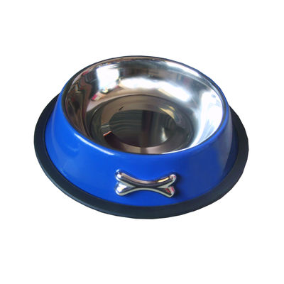Zorba Designer Metal Bowl, blue, medium