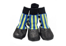 Puppy Love Anti-Slip Waterproof Sock Shoes for Large Breed Dogs, blue striped , extra large
