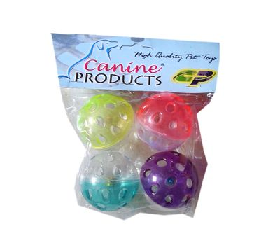 Canine Plastic Balls with Beads Bell Puppy Cat Toy, 2 inch, multi colour