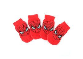 Puppy Love Multi Designs Anti Skid Socks for Medium Breed Dogs, red spiderman, large