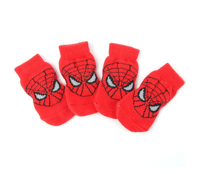 Puppy Love Multi Designs Anti Skid Socks for Medium Breed Dogs, red spiderman, large