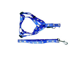 Canine Nylon Paw Print Body Harness Set for Small Breed Dogs, blue, medium