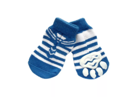 Puppy Love Multi Designs Anti Skid Socks for Small to Medium Breed Dogs, blue tie, medium