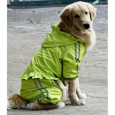 Puppy Love Frilly Jumpsuit Raincoat for Large Breed Dogs, 6xl, green
