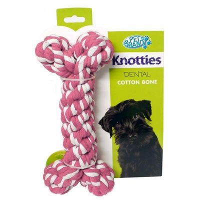 Pet Brands Knotties Dental Cotton Bone, medium, pink